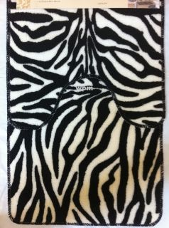 Piece BATHROOM rug set Animal Black Zebra bath mat toilet contour rugs