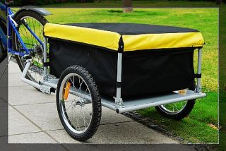 Bicycle Bike Trailer Yellow Black Cargo Trailer Carrier