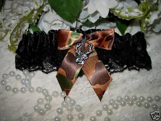 Garter Hunter Wedding Bridal Black Camo Big Buck Deer