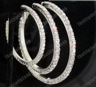 Clip on Diamante Crystal Rhinestone Big Hoop Earrings