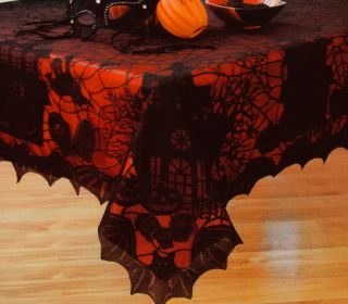 Halloween Black Spider Web Lace Haunted House Bat Fabric Tablecloth