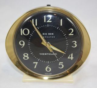 VTG Big Ben Westclox Alarm Clock Mid Century Madman Illuminated ~ Made