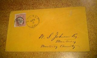 1860s Gilroy Santa Clara County California Johnson Monterey Cover