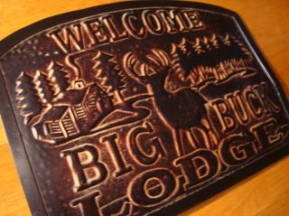 WELCOME BIG BUCK LODGE Deer Cabin Home Decor Embossed Metal Wall