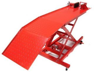 800 LB RED HYDRAULIC MOTORCYCLE LIFT TABLE JACK PEDAL STAND SERVICE