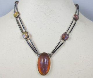 Vtg Art Deco Sterling Enamel Dragons Breath Jelly Opal Necklace Choker