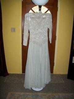 Black Tie Sz 6 Sage Green Beaded Evening Dress Mother Of The Bride
