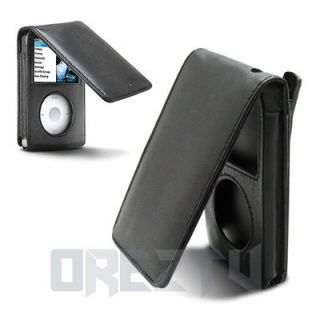 Black Leather Skin Flip Case With Belt Clip Cover For Apple iPod Video