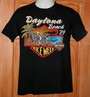 1989 Bike Week Vintage Daytona Beach T Shirt s Mike Dennistons Harley