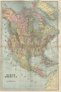 North America Map Authentic 1899 Large and Detailed showing Indian
