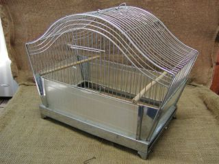 Vintage Bird Cage Old Antique Cages Birds Stand Chrome Stainless