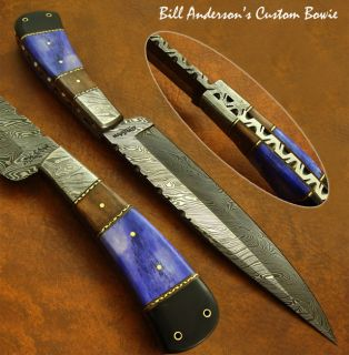 Hand Made by Bill Anderson 1 of A Kind Custom Damascus Knife Fossil