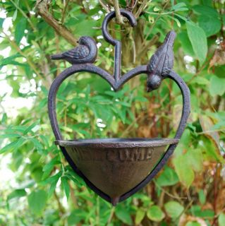 Hanging Heart Garden Bird Feeder Ornament in Cast Iron New Free P P