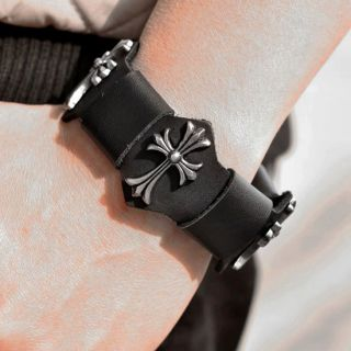 Mens Gothic Punk Black Leather Big Iron Cross Buckle Bracelet Cuff