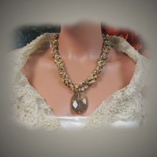 OOAK HANDMADE NATURAL STONE NECKLACE JEWELRY SET.