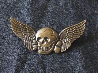 er Biker SKULL WINGS TOTENKOPF Motorcycle MC German Military Pin Badge