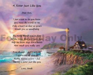 Sister Poem Personalized Birthday or Christmas Gift Lighthouse Print