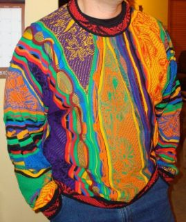 Coogi Mens size XL Sweater Bright Colorful Bill Cosby ish Vtg 80s 90s