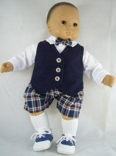 Doll Clothes Fits Bitty Twins Matching Boy Girl Navy Plaid Dress Up