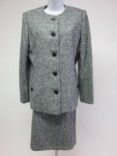 BILL BLASS Blue White Gray Herringbone Button Up Blazer Pencil Skirt