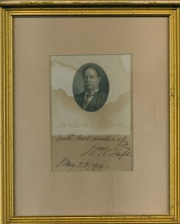 President William Taft Signed Auto PSA DNA 4x5 Display