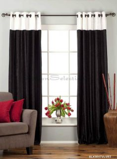 Piece Black and White Designer Velvet Drapery Curtain Panel Ring