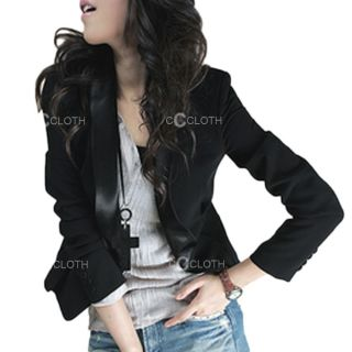 Black Ladies Womens Fitted Long Sleeve Cardigan Vintage Suit Blazer