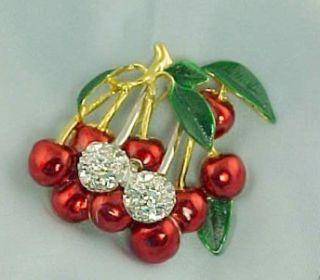 Crystal Rhinestone Bing Cherries Cherry Pin Brooch