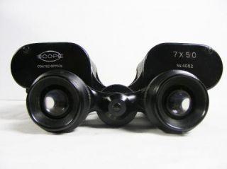 SCOPE 7 X 50 Coated Optics Binoculars No. 4082 with Leather Case NICE