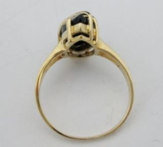 VINTAGE MARQUISE CUT BLACK ONYX 10K YELLOW GOLD RING SIZE 7 NoReserve