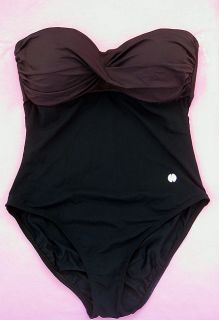 Two Toned One Piece Swimwear Colorblock Black Brown Swimsuit Bathing