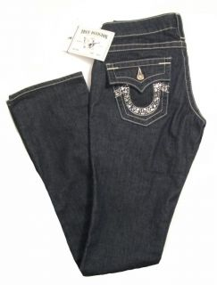 Authentic True Religion Women Billy Clear Crystal Rhinestone Jeans