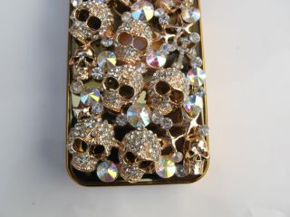 Handmade Golden Skull Diamond Bling Crystal Case Cover for iPhone 4 4G