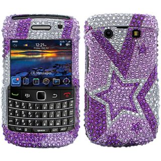 Purple Silver Star Bling Rhinestone Case Cover for Blackberry Bold 2