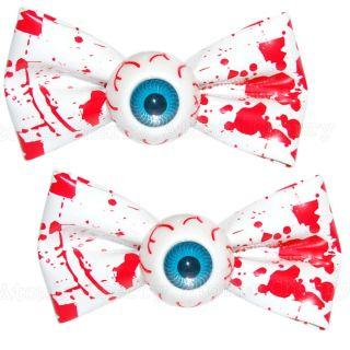 Kreepsville 666 Blood Splatter Bow Eyeball Hair Clips X2 Horror Zombie