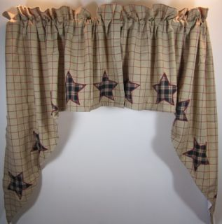 Country Red Black Tan Plaid Bingham Star Lined Cotton Swags 72x36