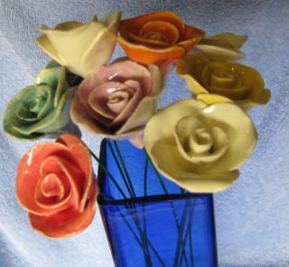 Polish Ceramic Pottery Rose Flower 10 Wire Stem Choose Color Stocking