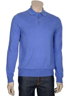 198 Bloomingdales Mens Sky Blue Cashmere Polo Sweater Small s Euro 48