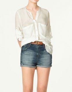 Women Blouse Fashion Loose White Chiffon Shirt Button Tunic Shirt HY04