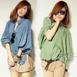 Short Sleeve Casual Dots Polka Loose Tops Blouses Shirt 482