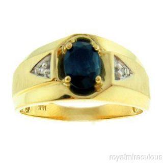 Mens Gold Ring Diamond Sapphire September Birthstone 14k Yellow or