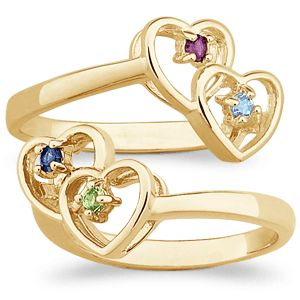 NEW COUPLES BIRTHSTONE TWIN HEARTS MOTHERS RING AUSTRIAN CRYSTAL 14K