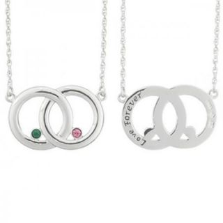 Couples Sterling Silver Infinity Circle Birthstone Necklace