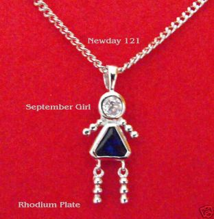 September Girl Birthstone Baby Charm in Rhodium Overlay