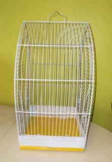 Very Cute Vintage Cottage Style White Metal Bird Cage W/ Accessories