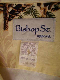 Bishop Street St Hawaiian Shirt Beige Floral Tikis Outrigger Canoe