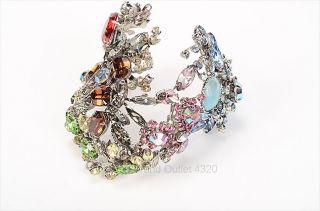 250 Tom Binns Silver Tone Multicolor Crystal Floral Leaf Cuff