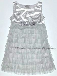 New Biscotti Little Girls Formal Dress Silver Satin Metallic Tiered
