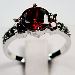 Bland New Ruby Ladys 10KT White Gold Filled Ring 8 Free