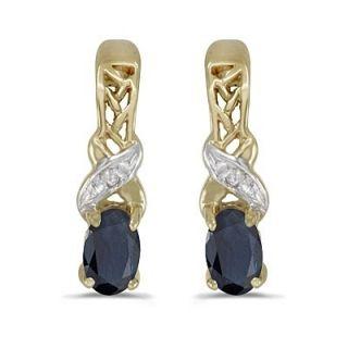 50ct Oval Blue Sapphire Diamond Earrings 14k Y Gold